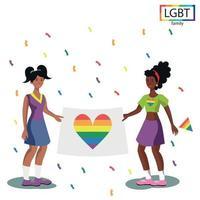 Família LGBT duas meninas segurando uma bandeira de arco-íris no desfile - vetor