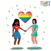 família LGBT, duas meninas se dão as mãos - vetor