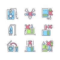 conjunto de ícones de etiqueta manual de cor de instrução de banco de energia vetor