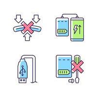 Powerbank uso adequado conjunto de ícones de etiqueta manual de cores rgb vetor