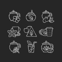 Chá e bebidas semelhantes a chá desenham ícones brancos em fundo escuro vetor
