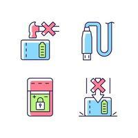 powerbank para conjunto de ícones de etiqueta manual de cores rgb de usuário de gadget vetor