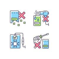 prolongando a vida útil do banco de energia conjunto de ícones de etiqueta manual de cores rgb vetor