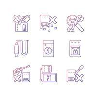 carregador portátil cuidados gradiente vetor linear conjunto de ícones de etiqueta manual