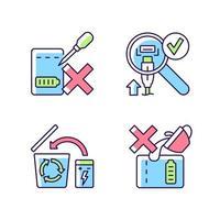 conjunto de ícones de etiqueta manual de cor rgb diretrizes para carregador portátil vetor