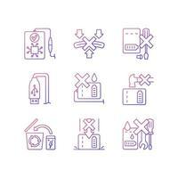 conjunto de ícones de etiqueta manual de vetor linear de instrução banco de energia