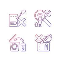 conjunto de ícones de etiqueta manual de vetor linear gradiente de diretrizes de carregador portátil