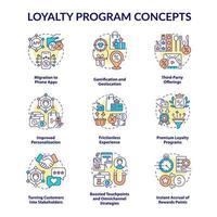 Conjunto de ícones de conceito de programa de fidelidade vetor