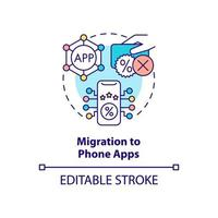 migração para ícone de conceito de aplicativos de telefone vetor