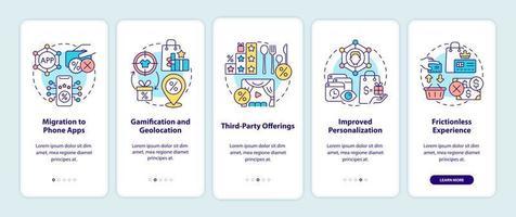 tendências de programas de fidelidade na tela da página do aplicativo móvel vetor