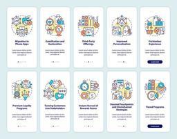 sistema de recompensa para clientes que integram o conjunto de telas de páginas do aplicativo móvel vetor