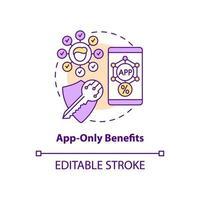 ícone de conceito de benefícios somente para aplicativos vetor