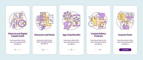 tela da página do aplicativo móvel de integração de ideias de programa de fidelidade para supermercados vetor