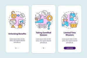 exemplos de programas de fidelidade gamificados na tela da página de aplicativos para dispositivos móveis vetor