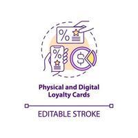ícone do conceito de cartões de fidelidade físicos e digitais vetor