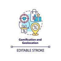 ícone do conceito de gamificação e geolocalização vetor