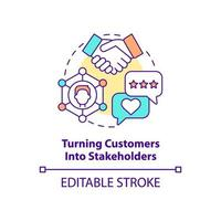 transformando clientes em ícone do conceito de stakeholders vetor