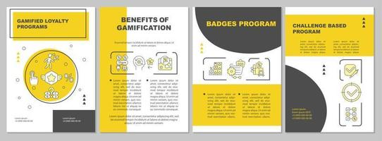 modelo de folheto amarelo gamificado de programas de fidelidade vetor