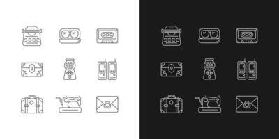 ícones lineares de inspiração vintage definidos para o modo claro e escuro vetor