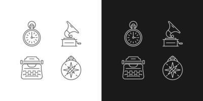 itens antiquados ícones lineares definidos para os modos claro e escuro vetor
