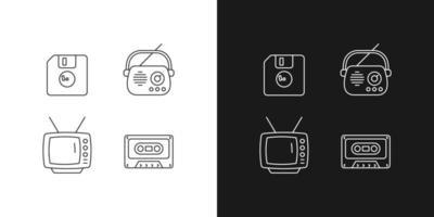 ícones lineares de itens vintage colecionáveis definidos para o modo claro e escuro vetor