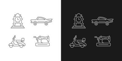 Ícones lineares retro colecionáveis definidos para o modo claro e escuro vetor