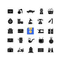 ícones de glifo preto de estilo vintage definidos no espaço em branco vetor