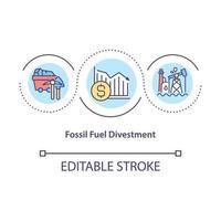 ícone do conceito de desinvestimento de combustível fóssil vetor