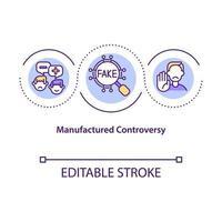 ícone do conceito de controvérsia fabricado vetor