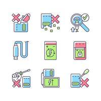 conjunto de ícones de etiqueta manual de cor rgb carregador portátil cuidados vetor