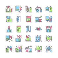 conjunto de ícones de etiqueta manual de cor rgb de uso de banco de energia vetor