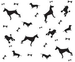 padrão preto e branco de silhuetas de cães - bassê, poodle e doberman vetor