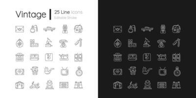 ícones lineares de estilo vintage definidos para o modo claro e escuro vetor