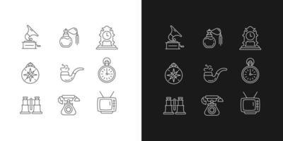 itens retro ícones lineares definidos para o modo claro e escuro vetor