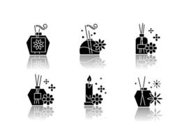 conjunto de ícones de glifo preto de sombra projetada de aromaterapia vetor