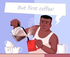 ilustração em vetor cor plana para dependência de cafeína