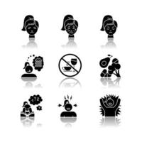 Síndrome pré-menstrual conjunto de ícones de glifo preto sombra projetada vetor