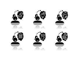 conjunto de ícones de glifo preto sombra projetada por comida vetor