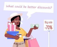 ilustração em vetor cor lisa shopaholic woman