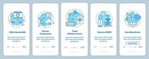Tecnologias 5g integrando a tela da página do aplicativo móvel com conceitos lineares vetor