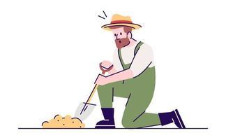 ilustração vetorial plana de homem de escavação vetor