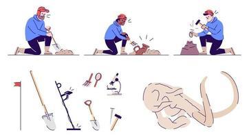 conjunto de ilustrações vetoriais planas de arqueologia vetor