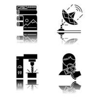 tipos de indústria conjunto de ícones de glifo preto sombra projetada vetor