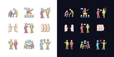 conjunto de ícones de cores rgb do tema claro e escuro do processo de comunicação vetor