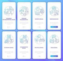 gradiente de ceticismo climático conjunto de telas de páginas de aplicativos para dispositivos móveis vetor