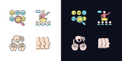 construindo relacionamentos com pessoas tema claro e escuro conjunto de ícones de cores rgb vetor
