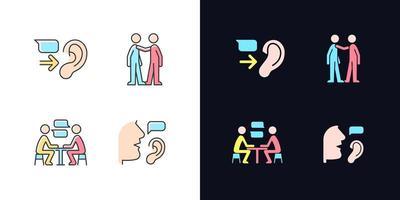 conjunto de ícones de cores rgb de tema claro e escuro de comunicação verbal e não verbal vetor