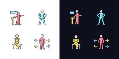 habilidades de comunicação conjunto de ícones de cores rgb de tema claro e escuro vetor