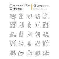 conjunto de ícones lineares do canal de comunicação vetor