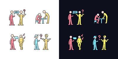 comunicar informações de forma eficaz conjunto de ícones de cores rgb de tema claro e escuro vetor